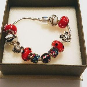 Mickey & Minnie Mouse 925 Silver Charm Bracelet
